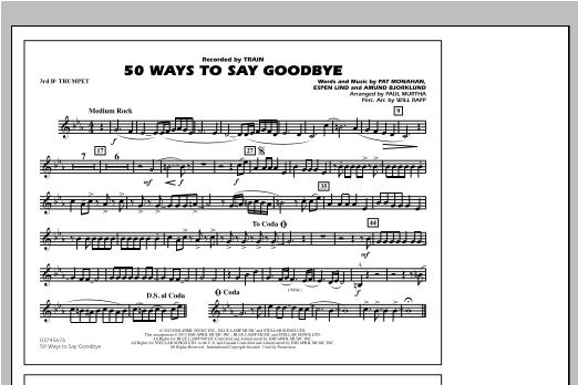50 Ways To Say Goodbye - 3rd Bb Trumpet Sheet Music