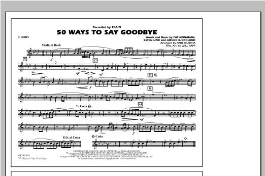 50 Ways To Say Goodbye - F Horn Sheet Music