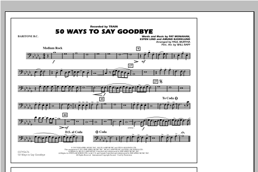 50 Ways To Say Goodbye - Baritone B.C. Sheet Music