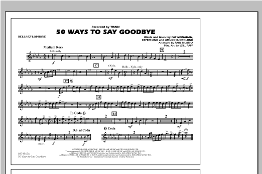 50 Ways To Say Goodbye - Bells/Xylophone Sheet Music