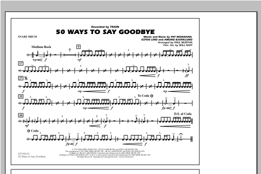 50 Ways To Say Goodbye - Snare Drum Sheet Music