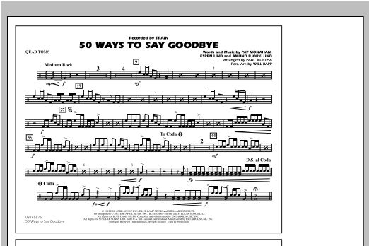 50 Ways To Say Goodbye - Quad Toms Sheet Music