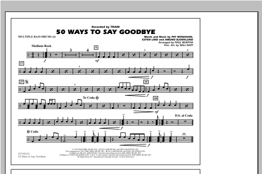50 Ways To Say Goodbye - Multiple Bass Drums Sheet Music
