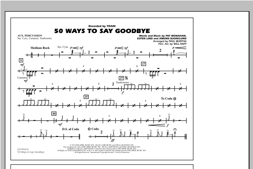 50 Ways To Say Goodbye - Aux Percussion Sheet Music