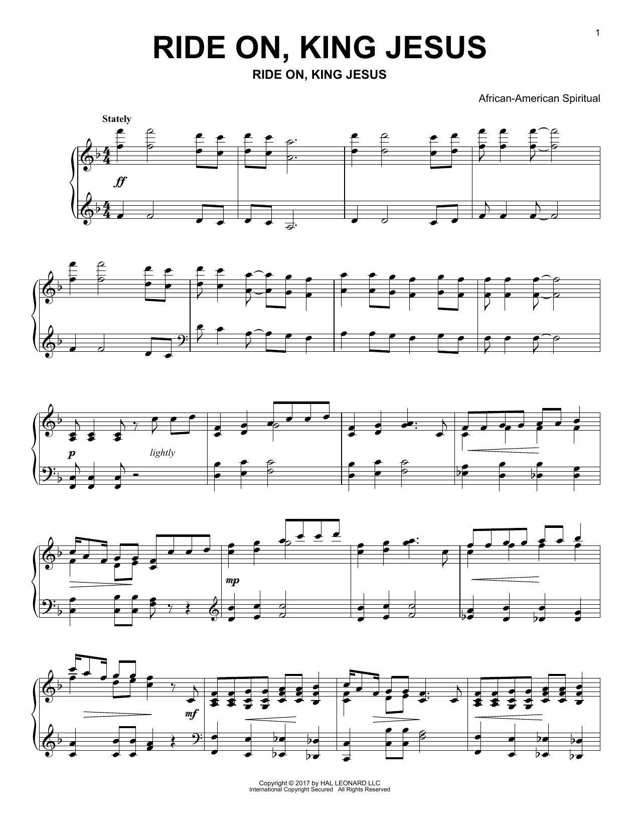 Ride On, King Jesus (Piano Solo)