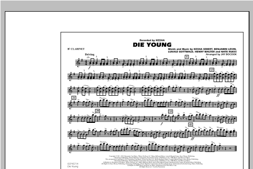 Die Young - Bb Clarinet Sheet Music