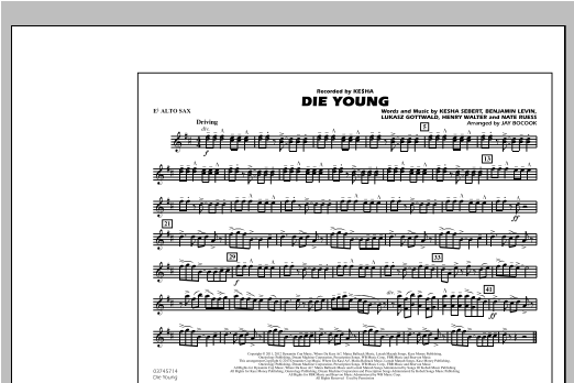 Die Young - Eb Alto Sax Sheet Music