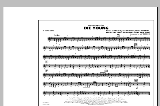 Die Young - Bb Tenor Sax Sheet Music
