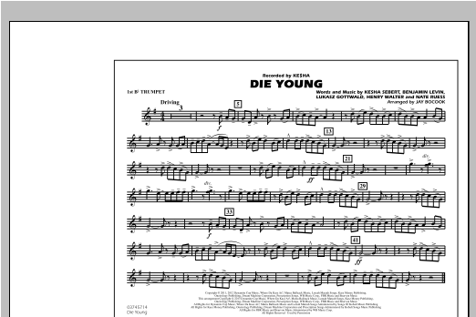 Die Young - 1st Bb Trumpet Sheet Music