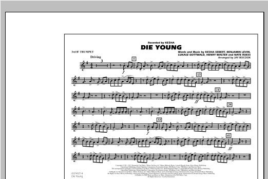 Die Young - 3rd Bb Trumpet Sheet Music