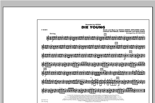 Die Young - F Horn Sheet Music