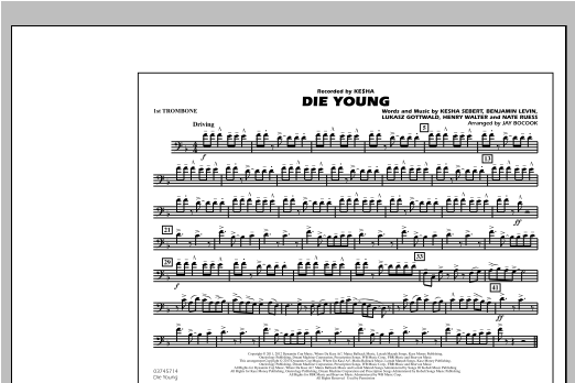 Die Young - 1st Trombone Sheet Music