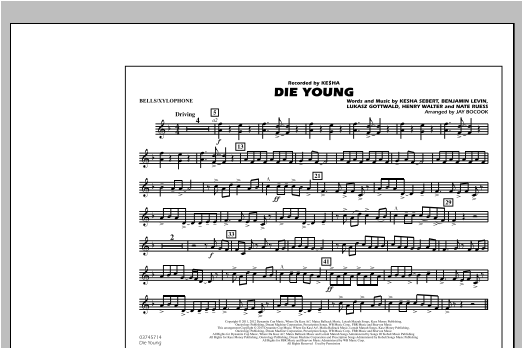 Die Young - Bells/Xylophone Sheet Music