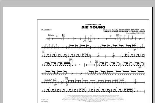 Die Young - Snare Drum Sheet Music