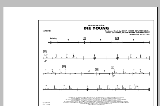 Die Young - Cymbals Partition Digitale