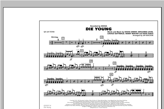 Die Young - Quad Toms Sheet Music