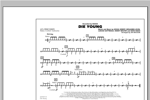 Die Young - Aux Percussion Sheet Music