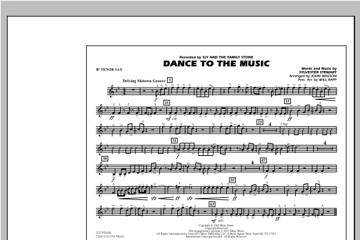 Dance To The Music - Bb Tenor Sax Sheet Music