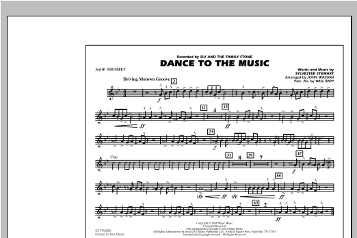 Dance To The Music - 3rd Bb Trumpet Sheet Music