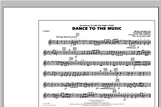 Dance To The Music - F Horn Sheet Music