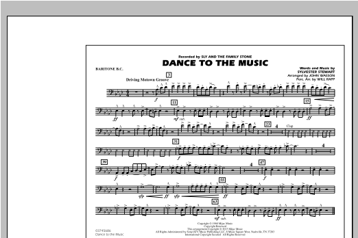 Dance To The Music - Baritone B.C. Sheet Music