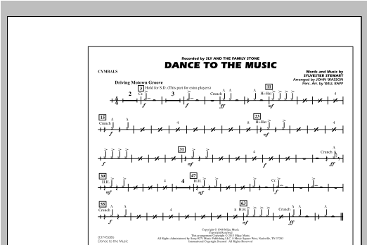 Dance To The Music - Cymbals Sheet Music