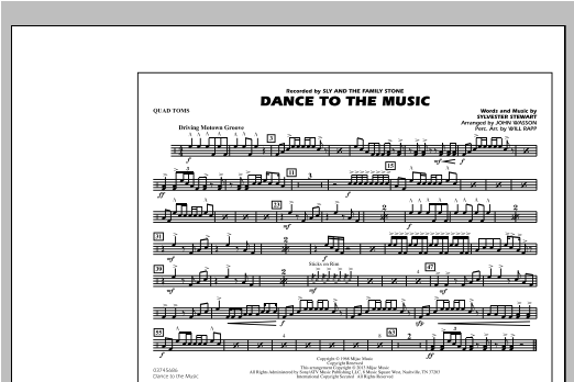 Dance To The Music - Quad Toms Sheet Music
