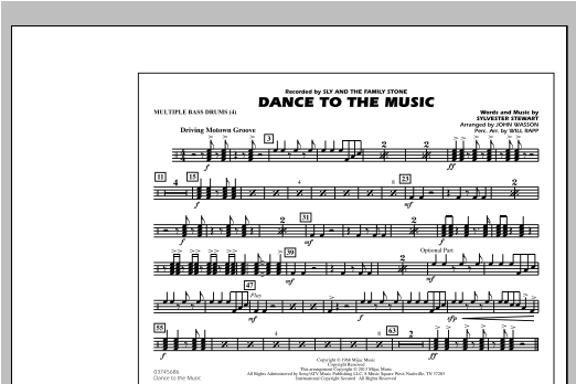 Dance To The Music - Multiple Bass Drums Sheet Music