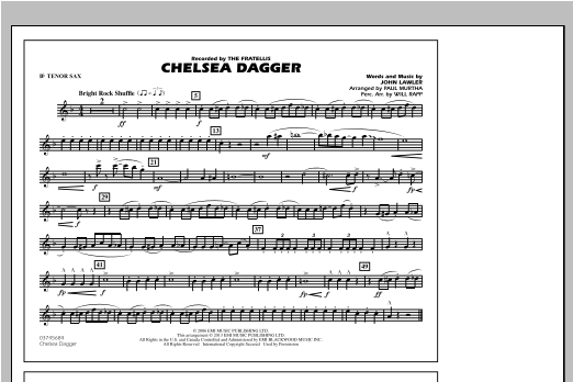 Chelsea Dagger - Bb Tenor Sax Sheet Music