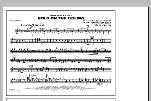 Gold On The Ceiling - Bb Tenor Sax Sheet Music