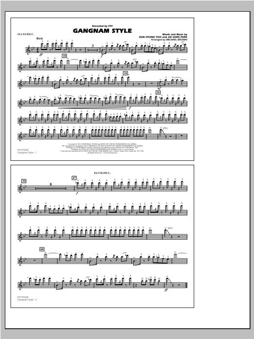 Gangnam Style - Flute/Piccolo Sheet Music