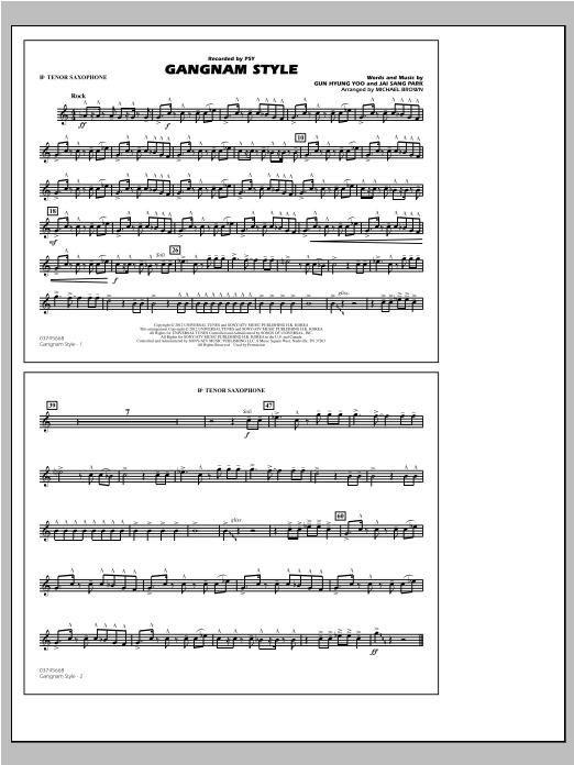 Gangnam Style - Bb Tenor Sax Partition Digitale