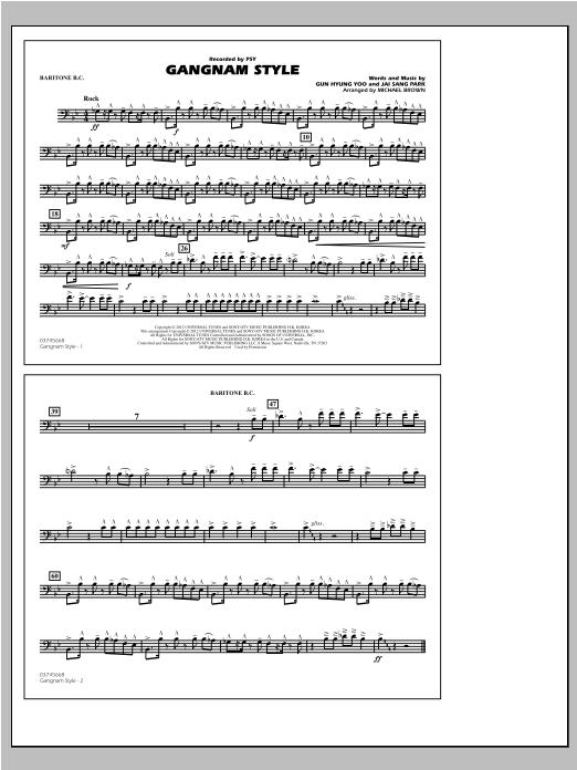 Gangnam Style - Baritone B.C. Sheet Music