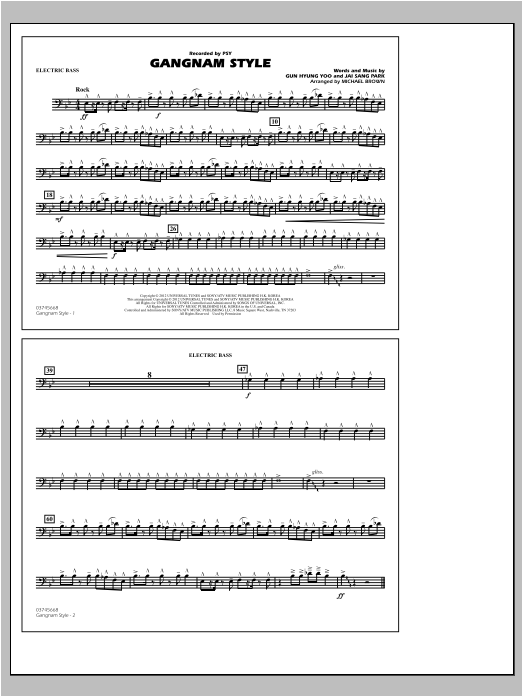 Gangnam Style - Electric Bass Sheet Music