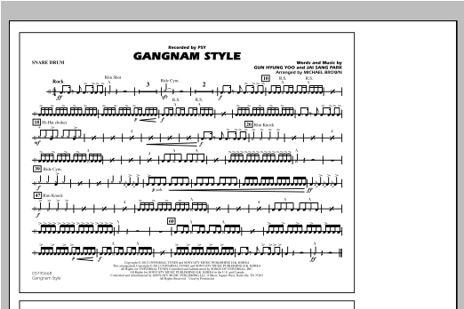 Gangnam Style - Snare Drum Partituras Digitales