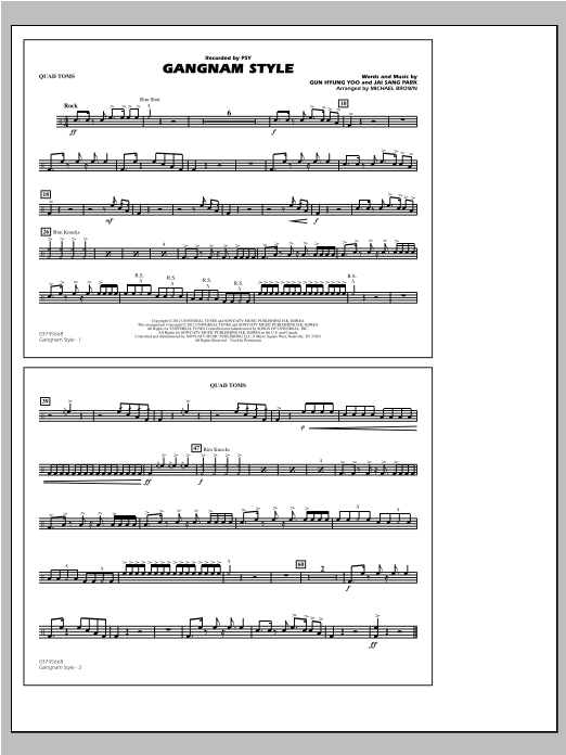 Gangnam Style - Quad Toms Sheet Music