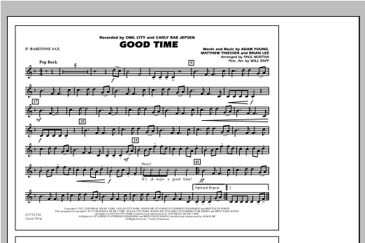Good Time - Eb Baritone Sax Sheet Music