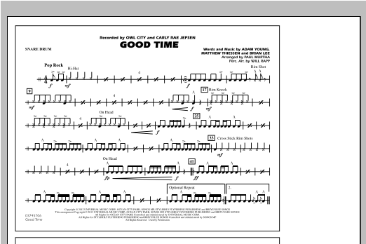 Good Time - Snare Drum Sheet Music