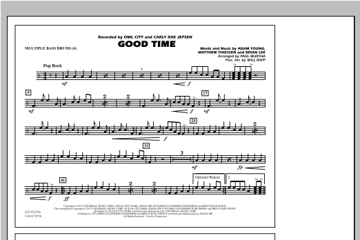 Good Time - Multiple Bass Drums Sheet Music