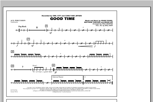 Good Time - Aux Percussion Sheet Music