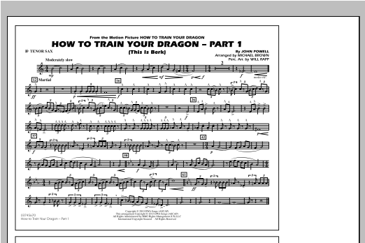 How To Train Your Dragon Part 1 - Bb Tenor Sax Sheet Music