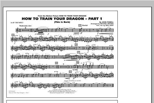 How To Train Your Dragon Part 1 - 1st Bb Trumpet Sheet Music