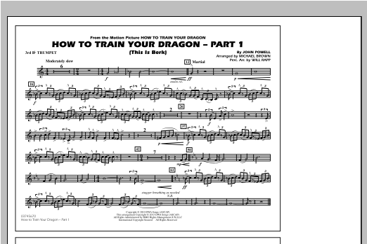 How To Train Your Dragon Part 1 - 3rd Bb Trumpet Sheet Music