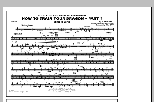How To Train Your Dragon Part 1 - F Horn Sheet Music