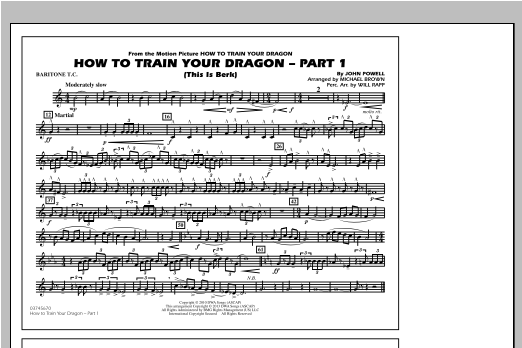 How To Train Your Dragon Part 1 - Baritone T.C. Sheet Music