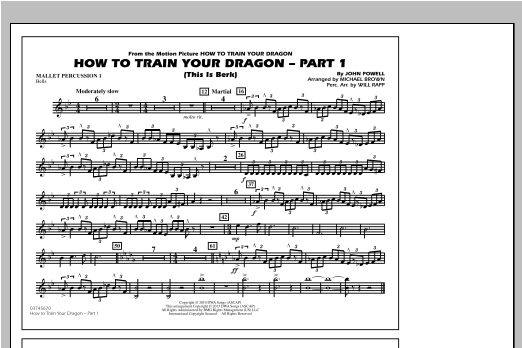 How To Train Your Dragon Part 1 - Mallet Percussion 1 Sheet Music
