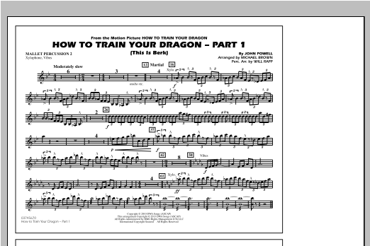 How To Train Your Dragon Part 1 - Mallet Percussion 2 Sheet Music