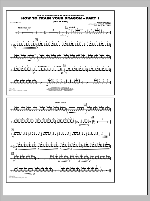 How To Train Your Dragon Part 1 - Snare Drum Sheet Music
