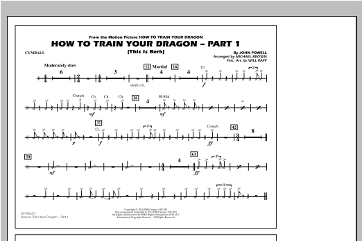 How To Train Your Dragon Part 1 - Cymbals Sheet Music