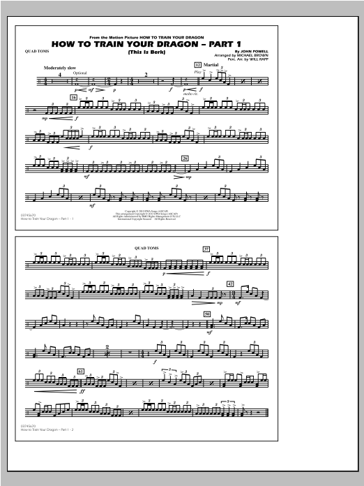 How To Train Your Dragon Part 1 - Quad Toms Sheet Music